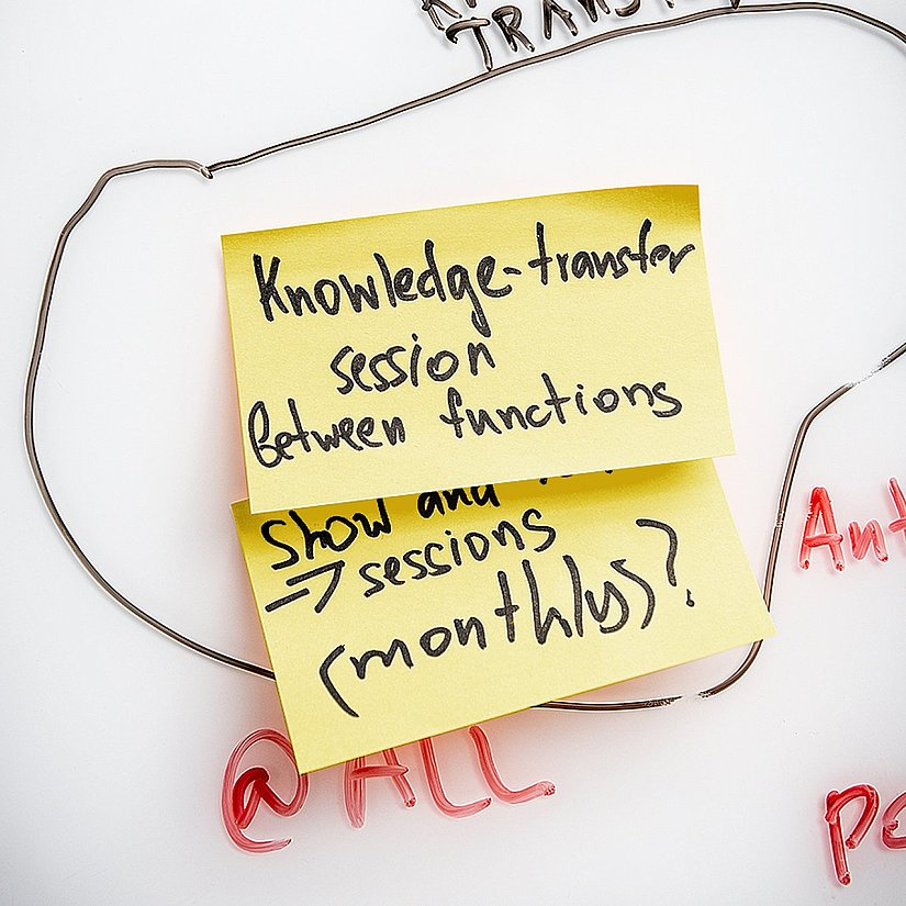 Photo of sticky notes labeled with tasks on a whiteboard